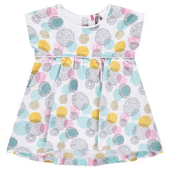 Short-sleeved tunic with large colorful allover polka dots