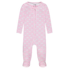 Zipped rib knit footed sleeper with print