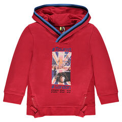 Hooded sweatshirt with London print and zippers