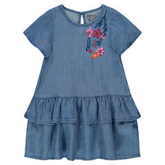 Frilled dress in Tencel with embroidered flowers
