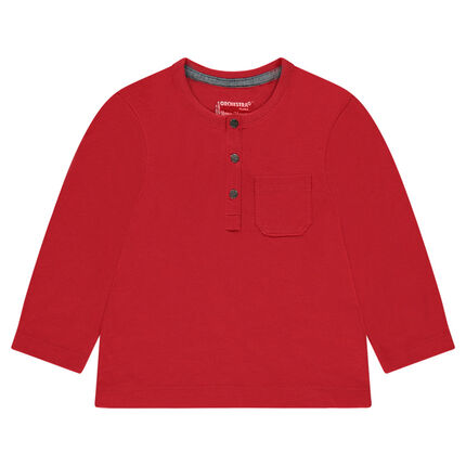 Long-sleeved slub jersey tee-shirt with a patch pocket