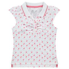 Polo manches courtes en jersey avec flamants rose all-over
