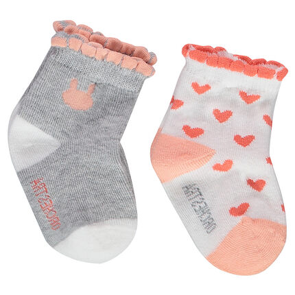 Set of 2 pairs of matching socks with scalloped ribbing