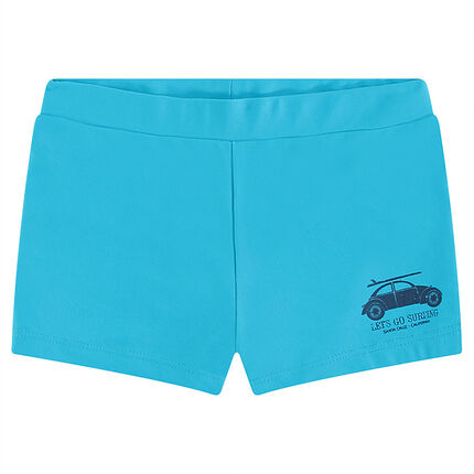 Plain-colored swim boxers with printed car