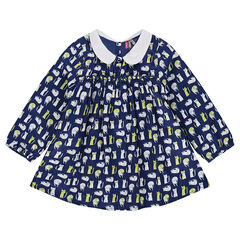 Tunic with an allover cat print and a Peter Pan collar