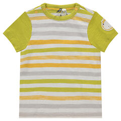 Short-sleeved striped jersey tee-shirt with a lion patch