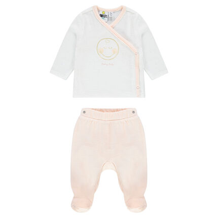 Velvet pajamas with ©Smiley Baby print