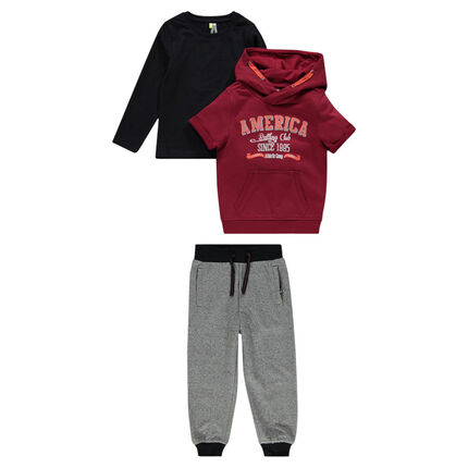 3-piece ensemble with short-sleeved sweat shirt, pants and tee-shirt