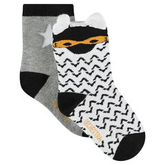 Set of 2 pairs of assorted socks with a graphic motif / plain-colored with star