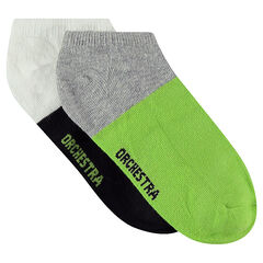 Set of 2 pairs of two-tone ankle socks