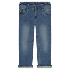 Used and crinkled-effect regular fit jeans with jersey lining