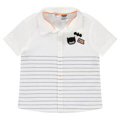 Short-sleeved striped cotton shirt with Batman badge