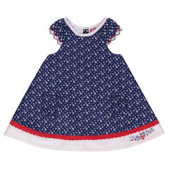 Dress with embroidered and printed daisies
