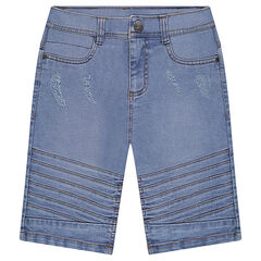 Junior - Bleached denim bermuda shorts with topstitched details