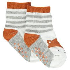 Socks with fox motif