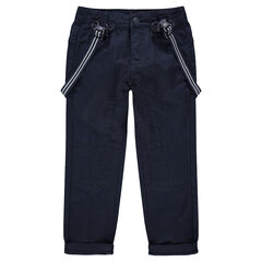 Navy blue canvas pants with removable striped suspenders