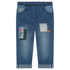 Used-effect jeans with floral embroidery and patches