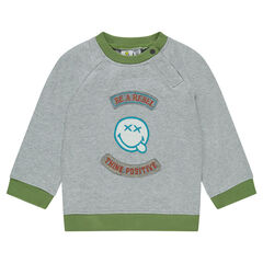 Heather gray fleece sweatshirt with ©Smiley