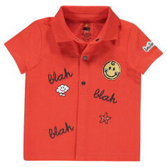 Short-sleeved jersey polo shirt with prints and a French terry ©Smiley badge