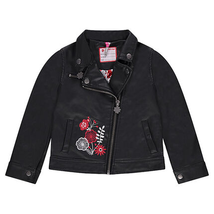 Imitation leather biker jacket with embroidered flowers
