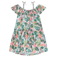 Bare-shouldered cotton dress with a plant print