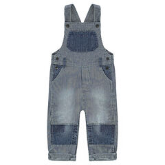 Denim overalls with stripes and plain-colored yokes