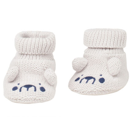 Knit booties with sewn ears and embroidered details