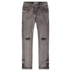 Junior - 7/8 stonewashed jeans with tears on the legs