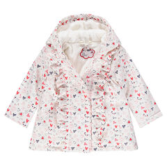Hooded parka with allover printed hearts and a sherpa lining