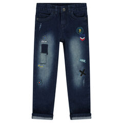 Used-effect regular fit jeans with badges