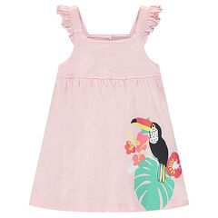 Cotton dress with frilled straps