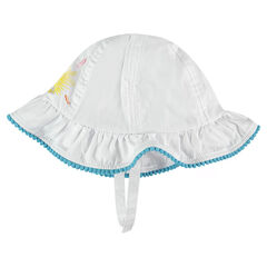 Cotton canvas sun hat with a print and pompom trim