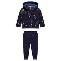 Fleece sweatsuit with printed stars and rockets
