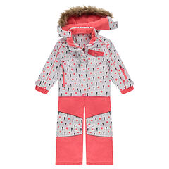 Micofleece-lined coral pink ski suit with a removable hood