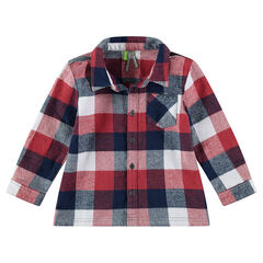 Long-sleeved contrasting check flannel shirt.