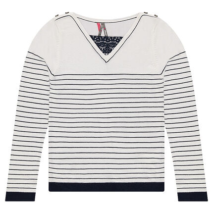Junior - Striped knit sweater with a lace-trimmed collar