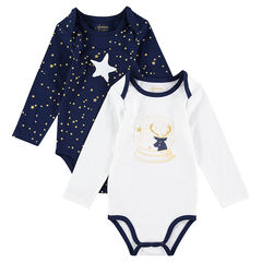 Set of 2 Christmas-themed long-sleeved bodysuits with stars and reindeer prints