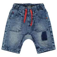 Striped-effect light denim bermuda shorts