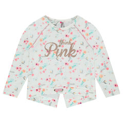 Fleece sweatshirt with an allover flower print and bevelled back