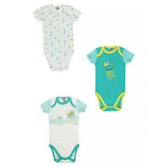 Set of 3 short-sleeved bodysuits with creative sailor-style print