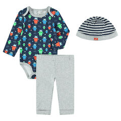 Ensemble with long-sleeved bodysuit with an allover print, pants and striped cap