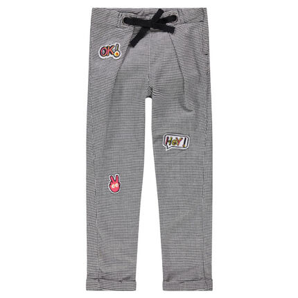 Houndstooth check pants with badge patches and drawstring ties