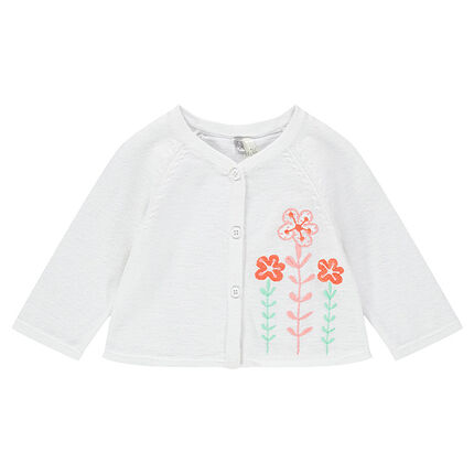 Knit cardigan with embroidered flowers for newborns