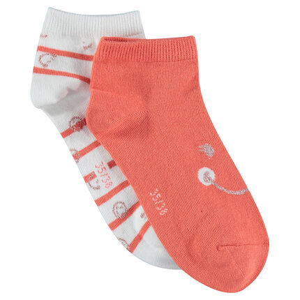 Set of 2 pairs of plain/striped ©Smiley socks