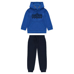 Two-tone fleece jogging set with Batman print