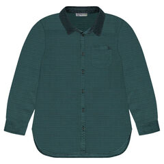 Junior - Cotton shirt with velvet collar