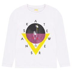Plain jersey long-sleeved t-shirt with fantasy print