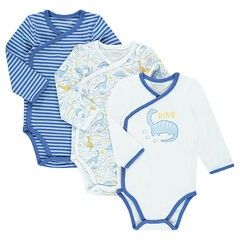 Set of 3 long-sleeved jersey bodysuits with dinosaurs print