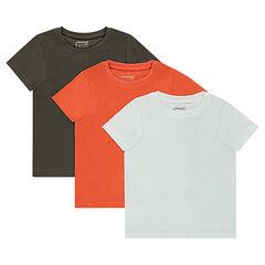 Junior - Lot de 3 tee-shirts manches courtes unis en jersey