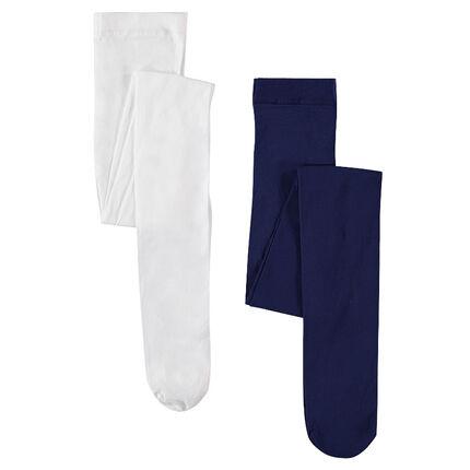 Set of 2 thin, 20 denier, plain-colored tights